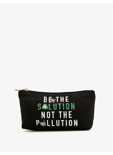 Koton Respect Life - Yasama Saygi - %100 Sertifikali Organik Pamuk Yazili Baskili Çanta Siyah
